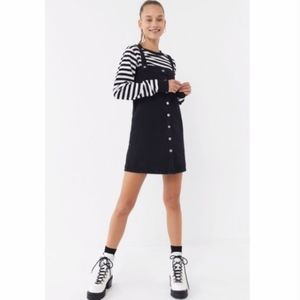 UO Aria Black Denim Straight-Neck Overall Dress